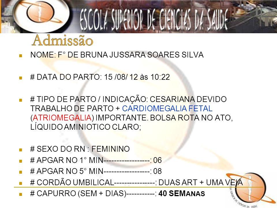 NOME: F° DE BRUNA JUSSARA SOARES SILVA # DATA DO PARTO: 15 /08/ 12 às 10:22 # TIPO DE PARTO / INDICAÇÃO: CESARIANA DEVIDO TRABALHO DE PARTO + CARDIOME