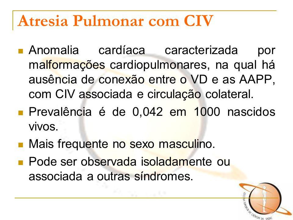 Atresia Pulmonar com CIV Anomalia cardíaca caracterizada por malformações cardiopulmonares, na qual há ausência de conexão entre o VD e as AAPP, com C