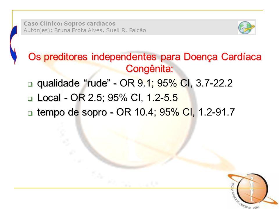 "Os preditores independentes para Doença Cardíaca Congênita:  qualidade ""rude"" -  qualidade ""rude"" - OR 9.1; 95% CI, 3.7-22.2  Local -  Local - OR"