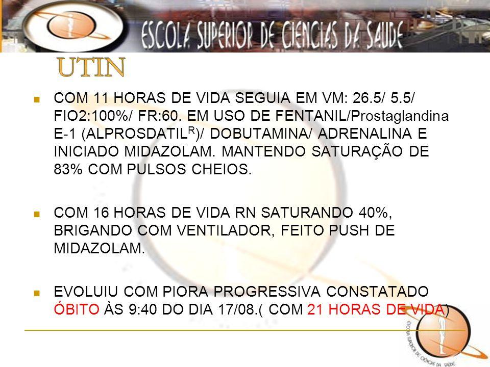 COM 11 HORAS DE VIDA SEGUIA EM VM: 26.5/ 5.5/ FIO2:100%/ FR:60. EM USO DE FENTANIL/Prostaglandina E-1 (ALPROSDATIL R )/ DOBUTAMINA/ ADRENALINA E INICI
