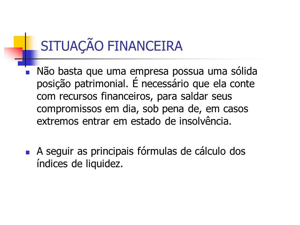 Liquidez Seca – Mede a Capacidade de pagamento a curto prazo sem contar com o estoque.