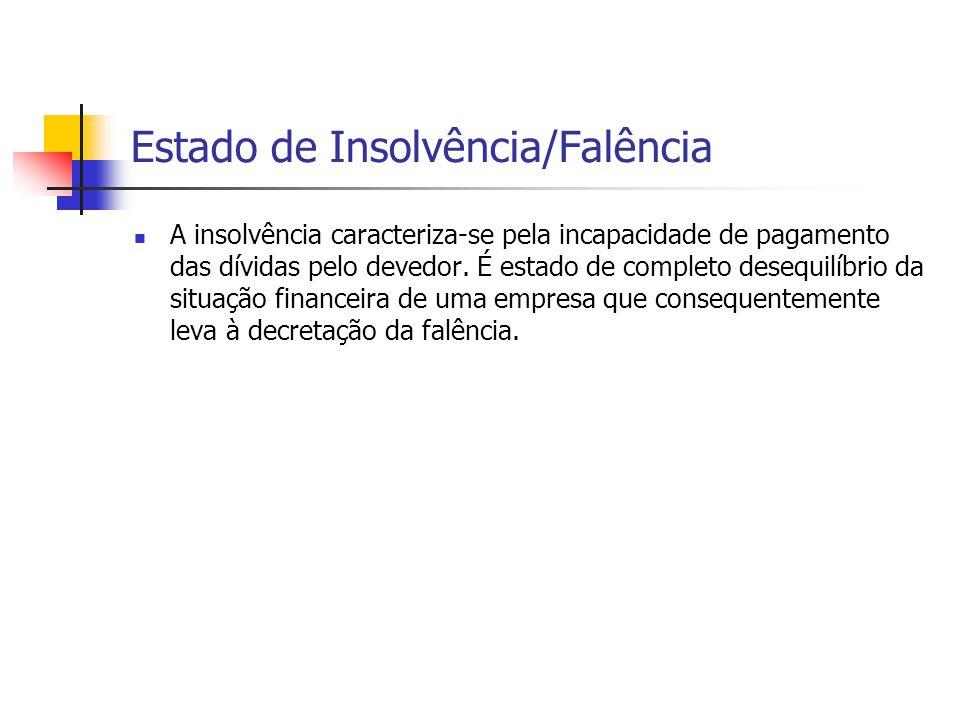 Estado de Insolvência/Falência A insolvência caracteriza-se pela incapacidade de pagamento das dívidas pelo devedor. É estado de completo desequilíbri