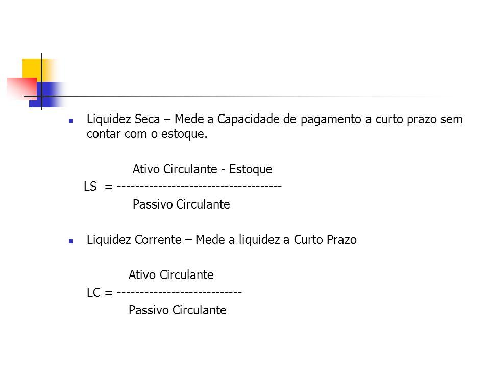 Liquidez Seca – Mede a Capacidade de pagamento a curto prazo sem contar com o estoque. Ativo Circulante - Estoque LS = -------------------------------