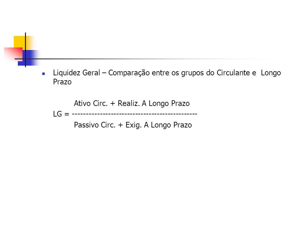 Liquidez Geral – Comparação entre os grupos do Circulante e Longo Prazo Ativo Circ. + Realiz. A Longo Prazo LG = -------------------------------------