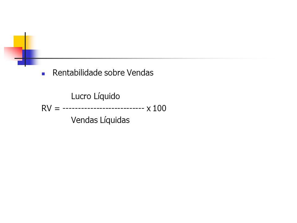 Rentabilidade sobre Vendas Lucro Líquido RV = --------------------------- x 100 Vendas Líquidas