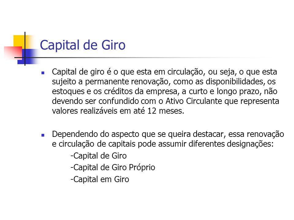 Capital de Giro ATIVO CIRCULANTE300 R.L.P.100 IMOBILIZADO200 ----- 600 PASSIVO CIRCULANTE200 E.L.P.