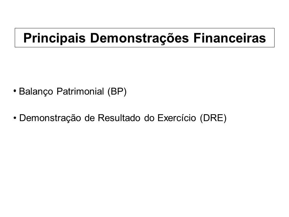 Balanço Patrimonial (BP) Demonstração de Resultado do Exercício (DRE) Principais Demonstrações Financeiras