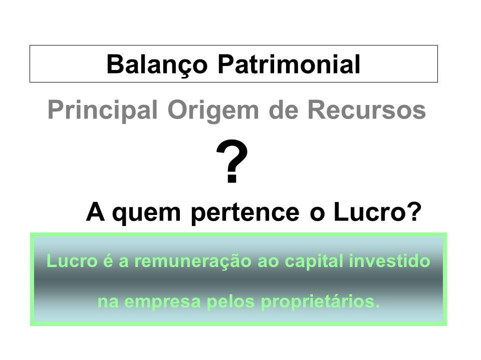 Principal Origem de Recursos Lucro é a remuneração ao capital investido na empresa pelos proprietários. A quem pertence o Lucro? ? Balanço Patrimonial