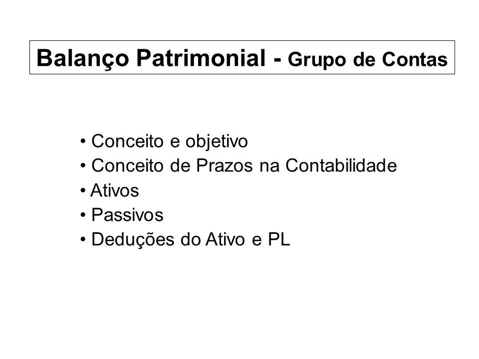 Conceito e objetivo Conceito de Prazos na Contabilidade Ativos Passivos Deduções do Ativo e PL Balanço Patrimonial - Grupo de Contas