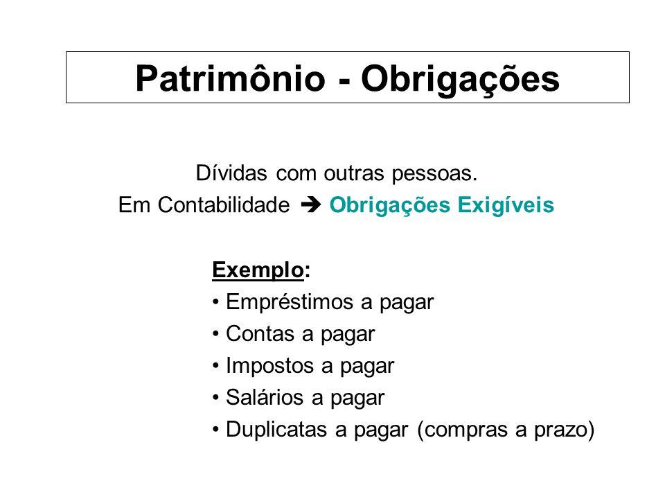 Ex.: Cia.Teresópolis Obrigações Fornecedores (dívidas com fornec.