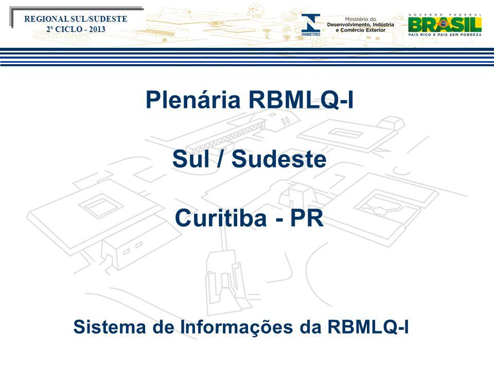 Título do evento Plenária RBMLQ-I Sul / Sudeste Curitiba - PR Sistema de Informações da RBMLQ-I REGIONAL SUL/SUDESTE 2º CICLO - 2013