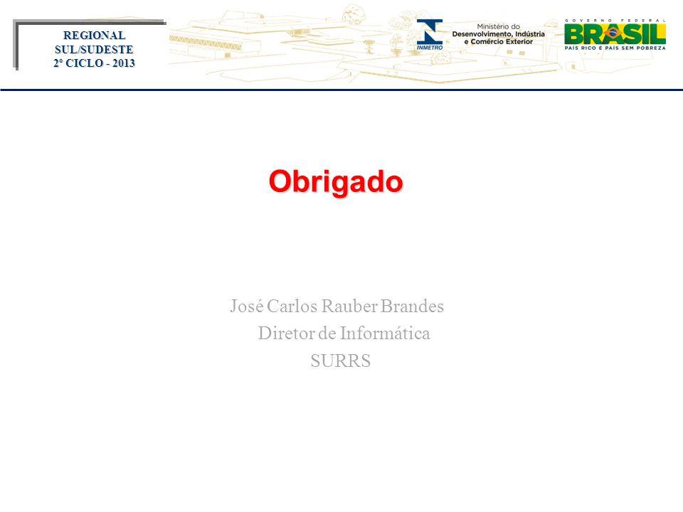 Título do evento REGIONAL SUL/SUDESTE 2º CICLO - 2013 Obrigado José Carlos Rauber Brandes Diretor de Informática SURRS