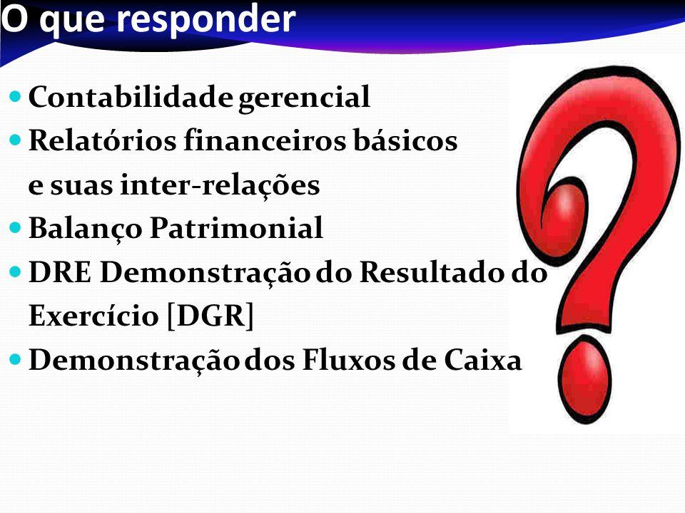 O que responder Contabilidade gerencial Relatórios financeiros básicos e suas inter-relações Balanço Patrimonial DRE Demonstração do Resultado do Exercício [DGR] Demonstração dos Fluxos de Caixa