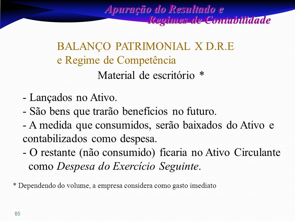 85 Apuração do Resultado e Regimes de Contabilidade Regimes de Contabilidade BALANÇO PATRIMONIAL X D.R.E e Regime de Competência Material de escritório * - Lançados no Ativo.