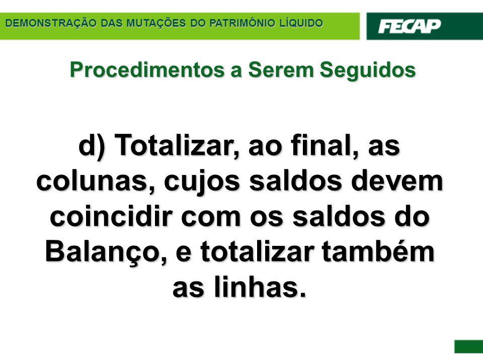 DEMONSTRAÇÃO DAS MUTAÇÕES DO PATRIMÔNIO LÍQUIDO Procedimentos a Serem Seguidos d) Totalizar, ao final, as colunas, cujos saldos devem coincidir com os