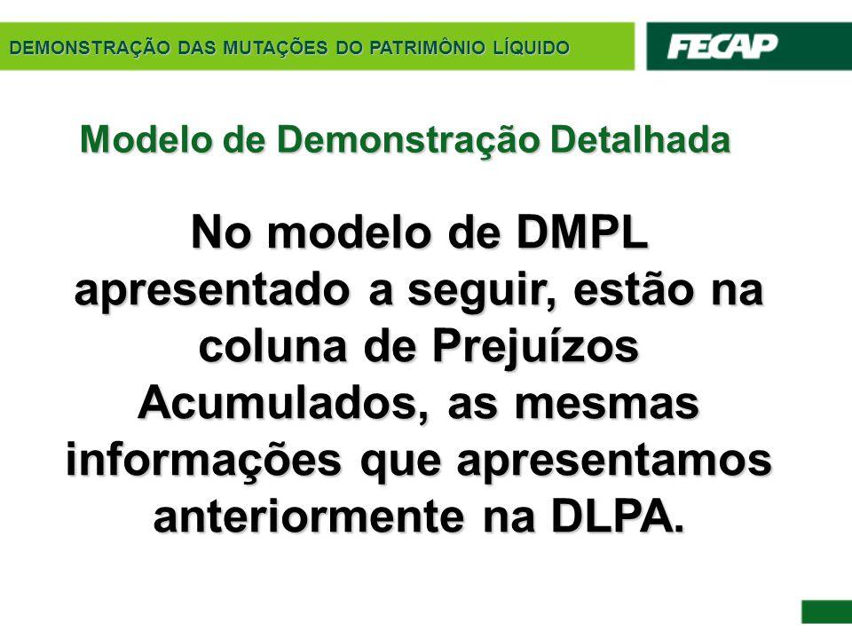 DEMONSTRAÇÃO DAS MUTAÇÕES DO PATRIMÔNIO LÍQUIDO Modelo de Demonstração Detalhada No modelo de DMPL apresentado a seguir, estão na coluna de Prejuízos