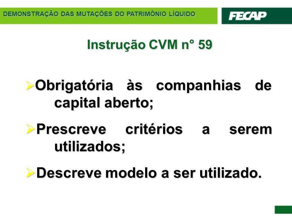 DEMONSTRAÇÃO DAS MUTAÇÕES DO PATRIMÔNIO LÍQUIDO Instrução CVM n° 59  Obrigatória às companhias de capital aberto;  Prescreve critérios a serem utili