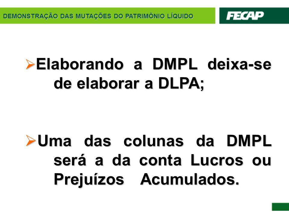 DEMONSTRAÇÃO DAS MUTAÇÕES DO PATRIMÔNIO LÍQUIDO  Elaborando a DMPL deixa-se de elaborar a DLPA;  Uma das colunas da DMPL será a da conta Lucros ou P