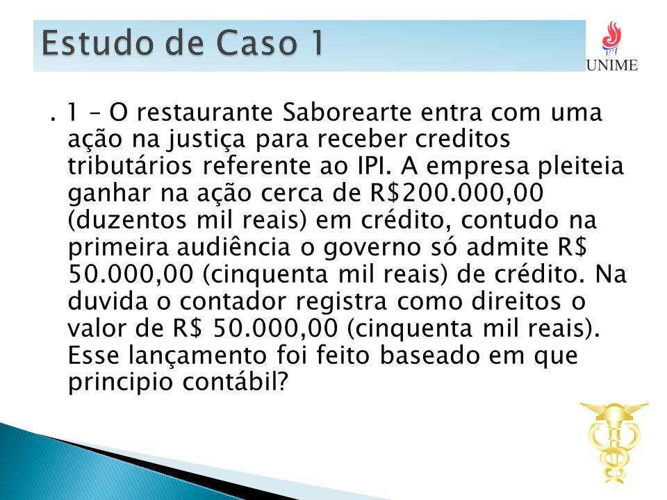 1 – O restaurante Saborearte entra com uma ação na justiça para receber creditos tributários referente ao IPI.