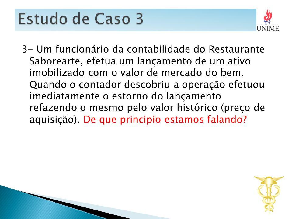 3- Um funcionário da contabilidade do Restaurante Saborearte, efetua um lançamento de um ativo imobilizado com o valor de mercado do bem.