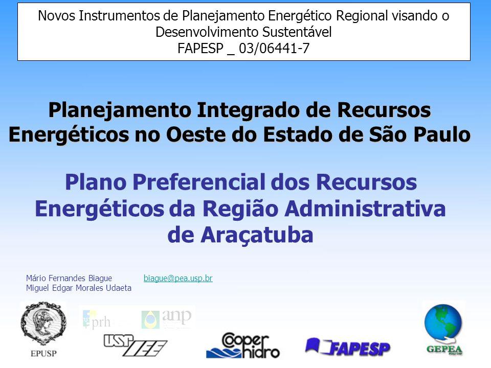 Planejamento Integrado de Recursos Energéticos no Oeste do Estado de São Paulo Novos Instrumentos de Planejamento Energético Regional visando o Desenvolvimento Sustentável FAPESP _ 03/06441-7 Plano Preferencial dos Recursos Energéticos da Região Administrativa de Araçatuba Mário Fernandes Biague biague@pea.usp.brbiague@pea.usp.br Miguel Edgar Morales Udaeta