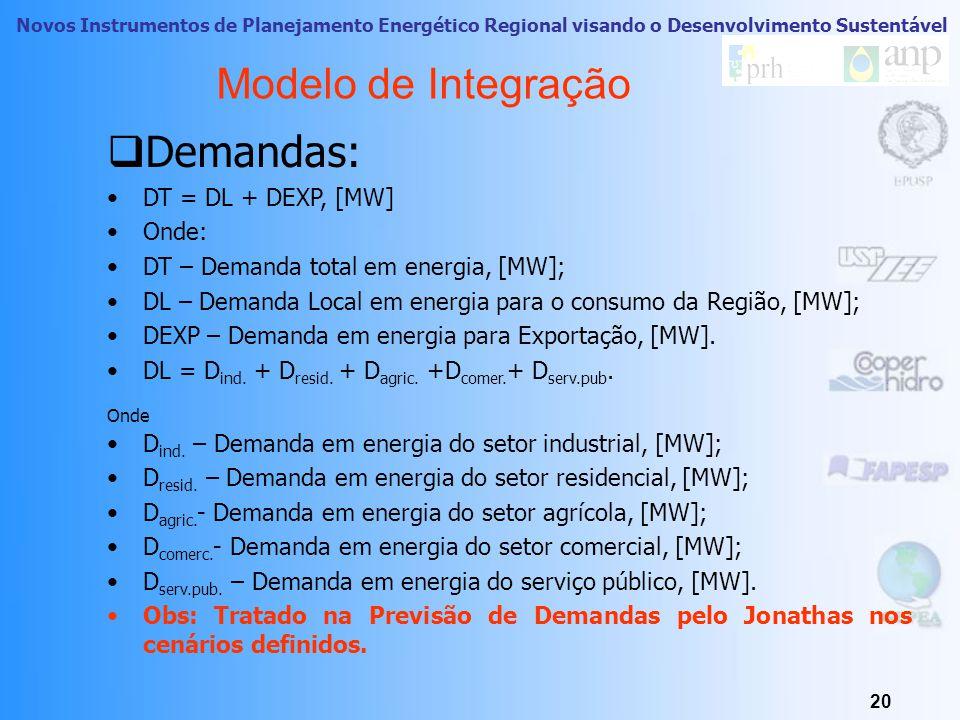 Novos Instrumentos de Planejamento Energético Regional visando o Desenvolvimento Sustentável 19 Modelo de Integração  Variáveis:  Investimento;  Tempo de Implementação;  Tempo de Vida Útil;  Potenciais Realizáveis;  Ranking dos Recursos;  Custo especifico;  Fator de Emissões;  Demandas;  Horizonte de 30 anos;