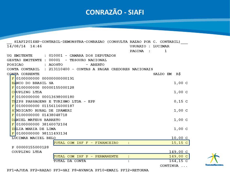 ABOP Slide 51 XI Semana de Administração Orçamentária, Financeira e de Contratações Públicas CONRAZÃO - SIAFI __ SIAFI2014HP-CONTABIL-DEMONSTRA-CONRAZ