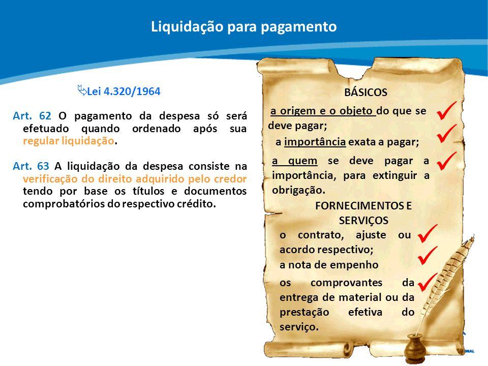 ABOP Slide 61 XI Semana de Administração Orçamentária, Financeira e de Contratações Públicas BÁSICOS a origem e o objeto do que se deve pagar; Art. 63