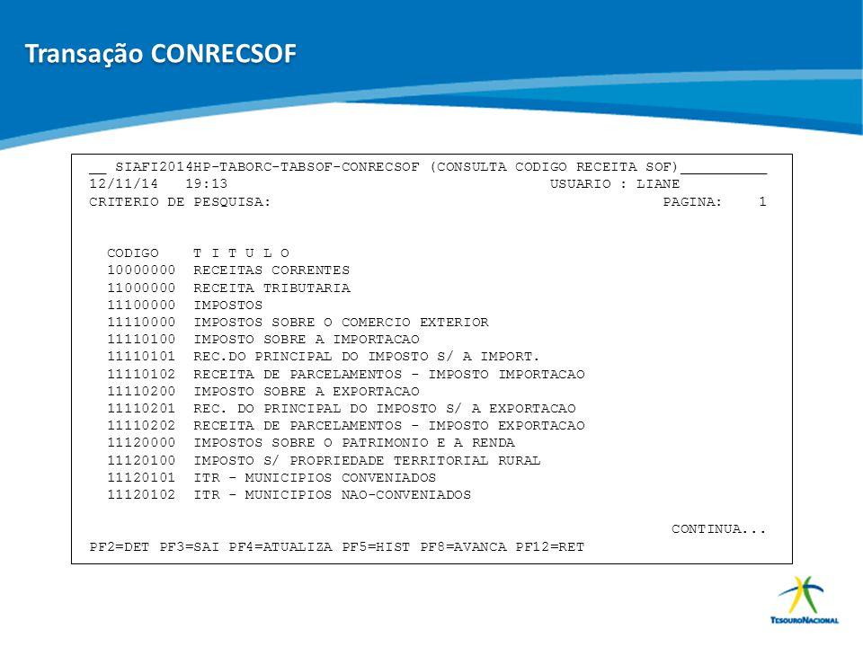 ABOP Slide 73 XI Semana de Administração Orçamentária, Financeira e de Contratações Públicas __ SIAFI2014HP-TABORC-TABSOF-CONRECSOF (CONSULTA CODIGO R