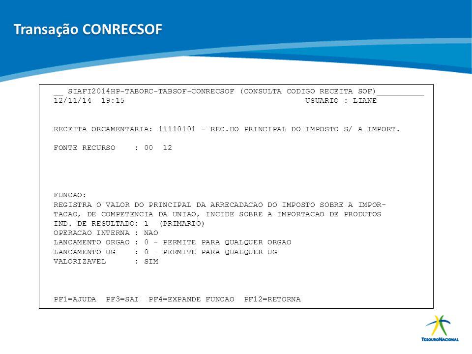 ABOP Slide 74 XI Semana de Administração Orçamentária, Financeira e de Contratações Públicas __ SIAFI2014HP-TABORC-TABSOF-CONRECSOF (CONSULTA CODIGO R