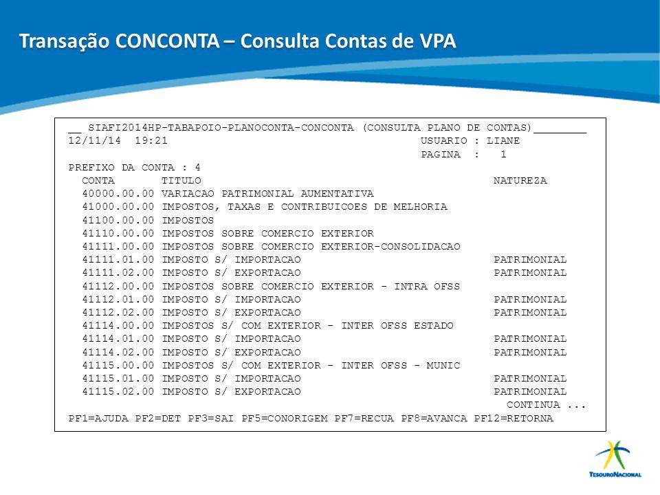 ABOP Slide 75 XI Semana de Administração Orçamentária, Financeira e de Contratações Públicas __ SIAFI2014HP-TABAPOIO-PLANOCONTA-CONCONTA (CONSULTA PLA