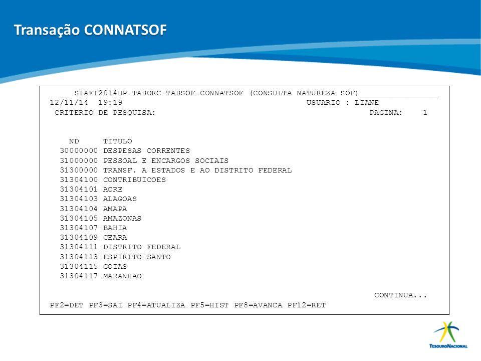 ABOP Slide 76 XI Semana de Administração Orçamentária, Financeira e de Contratações Públicas __ SIAFI2014HP-TABORC-TABSOF-CONNATSOF (CONSULTA NATUREZA