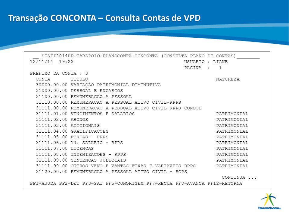 ABOP Slide 78 XI Semana de Administração Orçamentária, Financeira e de Contratações Públicas __ SIAFI2014HP-TABAPOIO-PLANOCONTA-CONCONTA (CONSULTA PLA