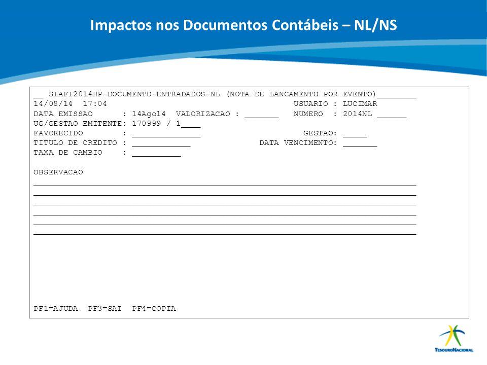 ABOP Slide 81 XI Semana de Administração Orçamentária, Financeira e de Contratações Públicas Impactos nos Documentos Contábeis – NL/NS __ SIAFI2014HP-
