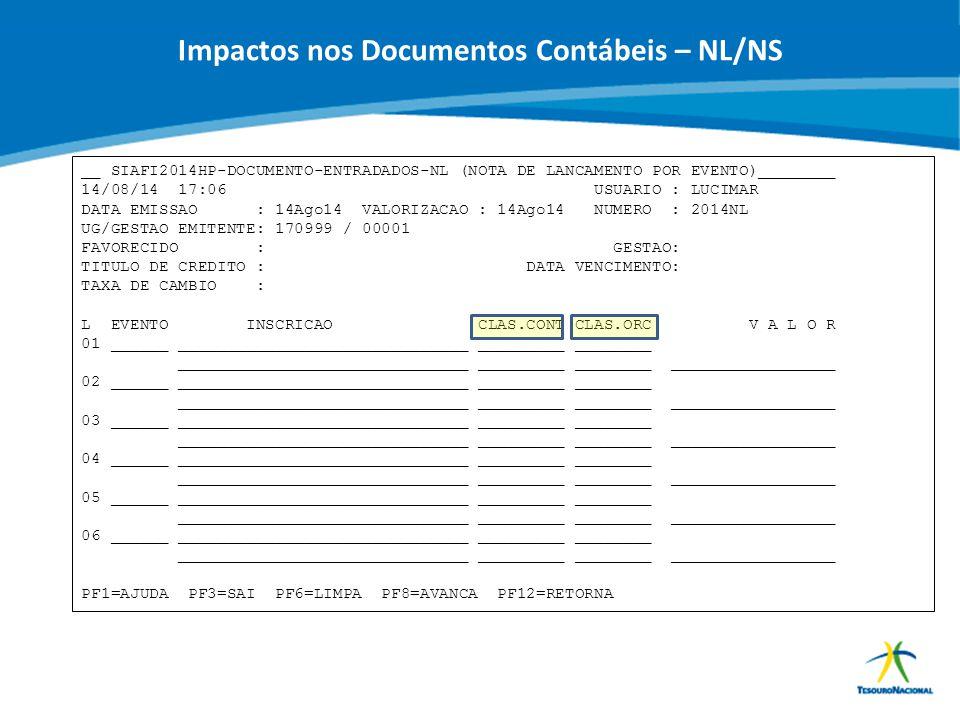 ABOP Slide 82 XI Semana de Administração Orçamentária, Financeira e de Contratações Públicas Impactos nos Documentos Contábeis – NL/NS __ SIAFI2014HP-