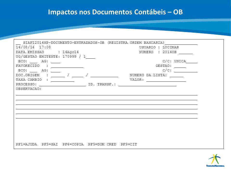 ABOP Slide 83 XI Semana de Administração Orçamentária, Financeira e de Contratações Públicas Impactos nos Documentos Contábeis – OB __ SIAFI2014HP-DOC
