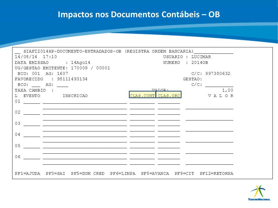 ABOP Slide 84 XI Semana de Administração Orçamentária, Financeira e de Contratações Públicas Impactos nos Documentos Contábeis – OB __ SIAFI2014HP-DOC