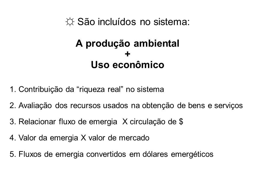 –CAPÍTULO 4 – – CAPÍTULO 4 – PRODUÇÃO AMBIENTAL E CONSUMO ECONÔMICO Odum, 2000: As pessoas não pensam em unidades de emergia, portanto, é recomendado o uso de seu equivalente econômico denominado em-dólar, obtido através da razão [emergia/dinheiro] da economia local.