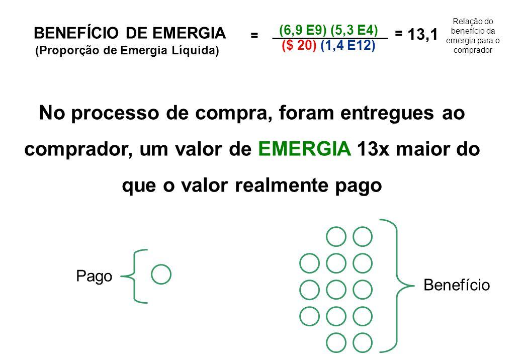 BENEFÍCIOS DA EMERGIA NA COMPRA DE PRODUTOS AMBIENTAIS Produto ambiental vendido $ do comprador EMERGIA do produto EMERGIA do dinheiro = (Fluxo de energia ) (Transformidade) ($ pago) (EMERGIA / $ PIB) $ 20 Preço Preço = $20/barril $ do comprador 6,9 E9 Joules/barril1 barril de petróleo vendido BENEFÍCIO DE EMERGIA (Proporção de Emergia Líquida) = (6,9 E9) (5,3 E4) ($ 20) (1,4 E12) = 13,1 Figura 4.4.