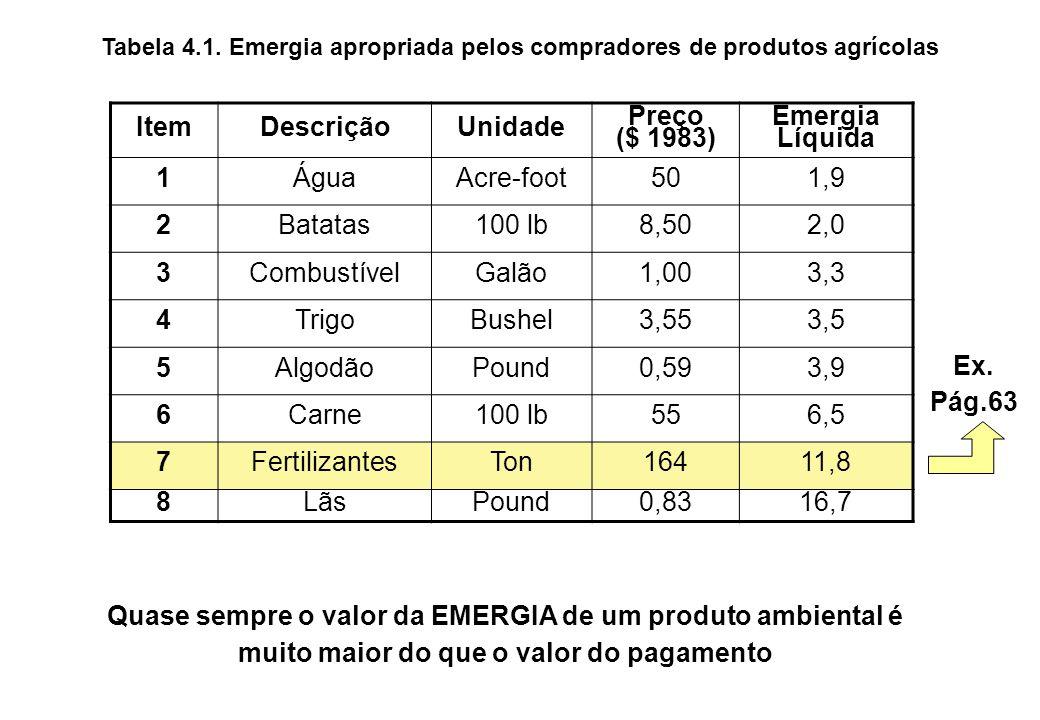 BENEFÍCIO DE EMERGIA (Proporção de Emergia Líquida) = (6,9 E9) (5,3 E4) ($ 20) (1,4 E12) = 13,1 Relação do benefício da emergia para o comprador No processo de compra, foram entregues ao comprador, um valor de EMERGIA 13x maior do que o valor realmente pago Benefício Pago