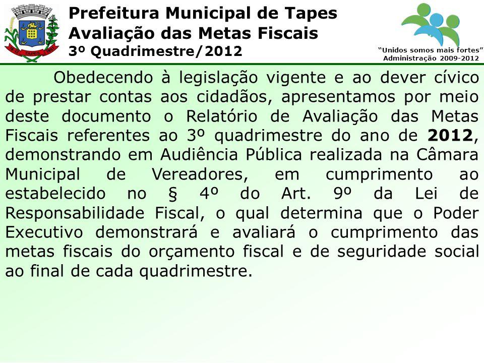 Prefeitura Municipal de Tapes Unidos somos mais fortes Administração 2009-2012 Avaliação das Metas Fiscais 3º Quadrimestre/2012 8.