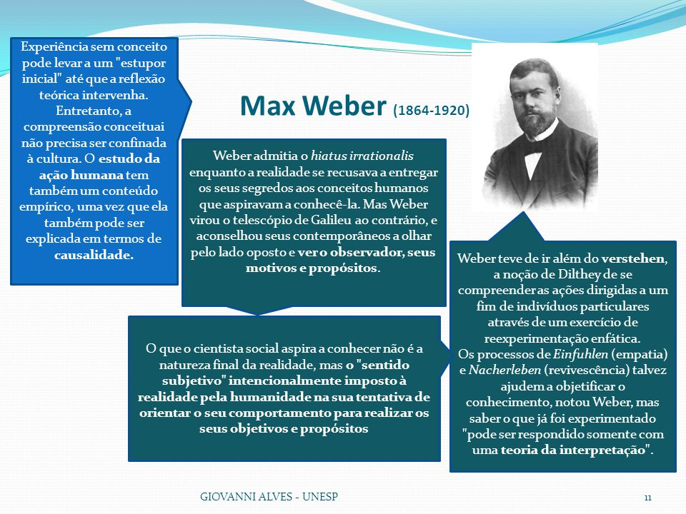 Max Weber (1864-1920) GIOVANNI ALVES - UNESP11 Weber teve de ir além do verstehen, a noção de Dilthey de se compreender as ações dirigidas a um fim de indivíduos particulares através de um exercício de reexperimentação enfática.