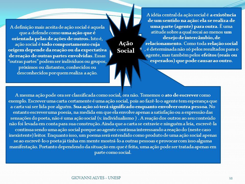GIOVANNI ALVES - UNESP12 A definição mais aceita de ação social é aquela que a defende como uma ação que é orientada pelas de ações de outros.