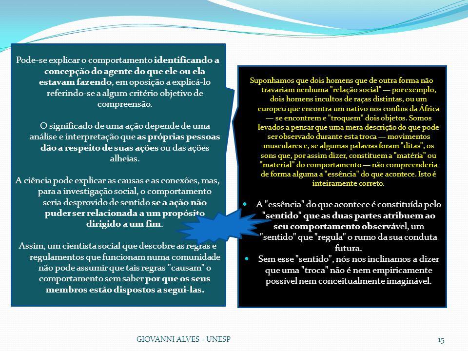 GIOVANNI ALVES - UNESP15 Pode-se explicar o comportamento identificando a concepção do agente do que ele ou ela estavam fazendo, em oposição a explicá-lo referindo-se a algum critério objetivo de compreensão.