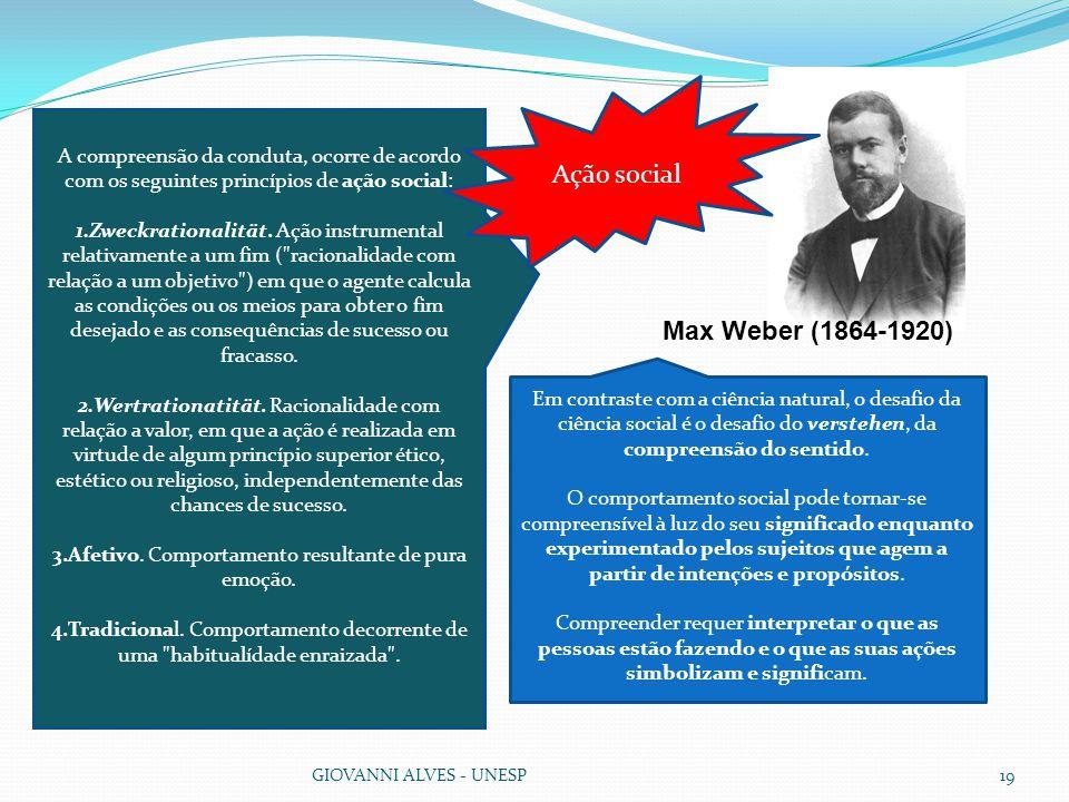 GIOVANNI ALVES - UNESP19 A compreensão da conduta, ocorre de acordo com os seguintes princípios de ação social: 1.Zweckrationalität.