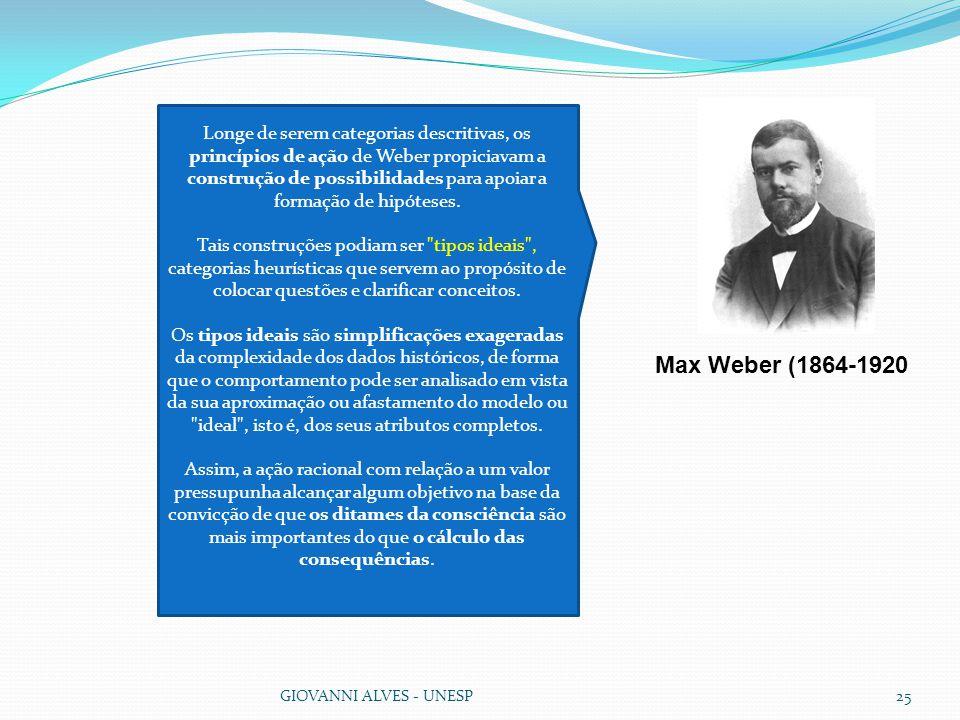 GIOVANNI ALVES - UNESP25 Longe de serem categorias descritivas, os princípios de ação de Weber propiciavam a construção de possibilidades para apoiar a formação de hipóteses.