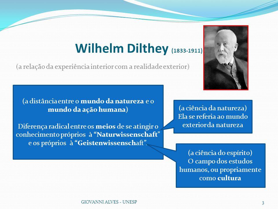 Wilhelm Dilthey (1833-1911) GIOVANNI ALVES - UNESP3 (a relação da experiência interior com a realidade exterior) (a distância entre o mundo da natureza e o mundo da ação humana) Diferença radical entre os meios de se atingir o conhecimento próprios à Naturwissenschaft e os próprios à Geistenwissenschaft .