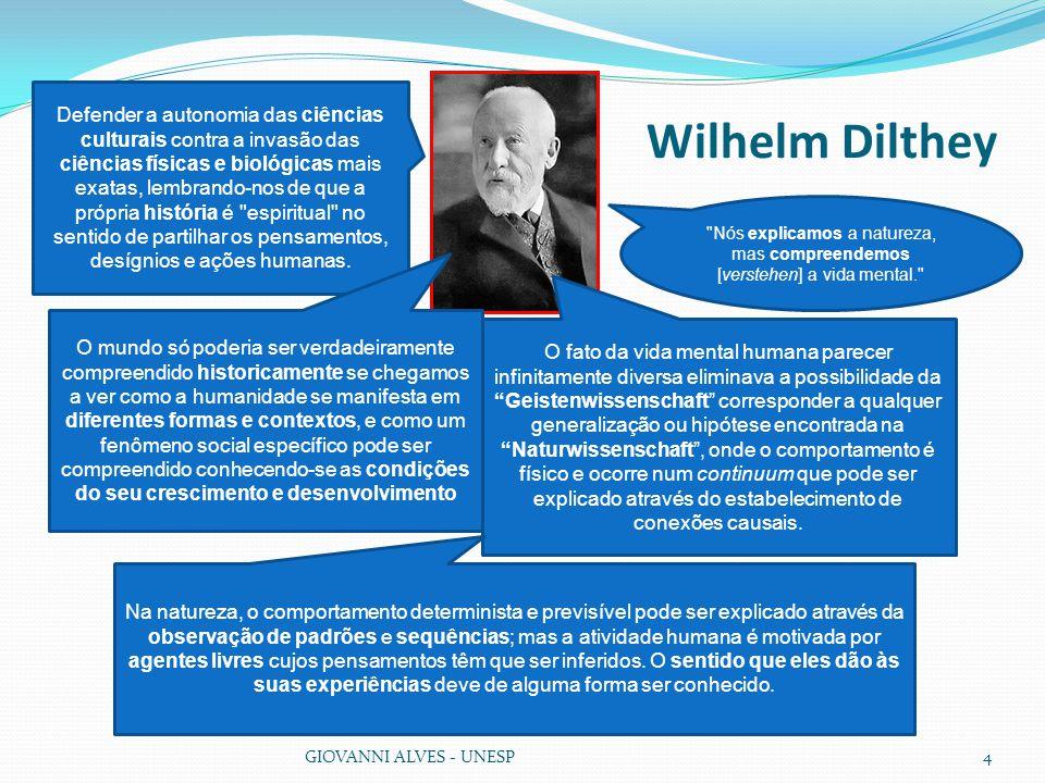 Wilhelm Dilthey GIOVANNI ALVES - UNESP4 O fato da vida mental humana parecer infinitamente diversa eliminava a possibilidade da Geistenwissenschaft corresponder a qualquer generalização ou hipótese encontrada na Naturwissenschaft , onde o comportamento é físico e ocorre num continuum que pode ser explicado através do estabelecimento de conexões causais.