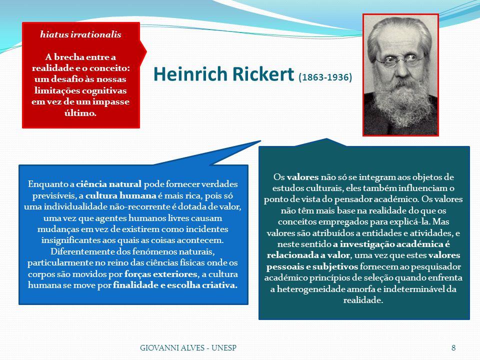 Heinrich Rickert (1863-1936) GIOVANNI ALVES - UNESP8 Os valores não só se integram aos objetos de estudos culturais, eles também influenciam o ponto de vista do pensador académico.