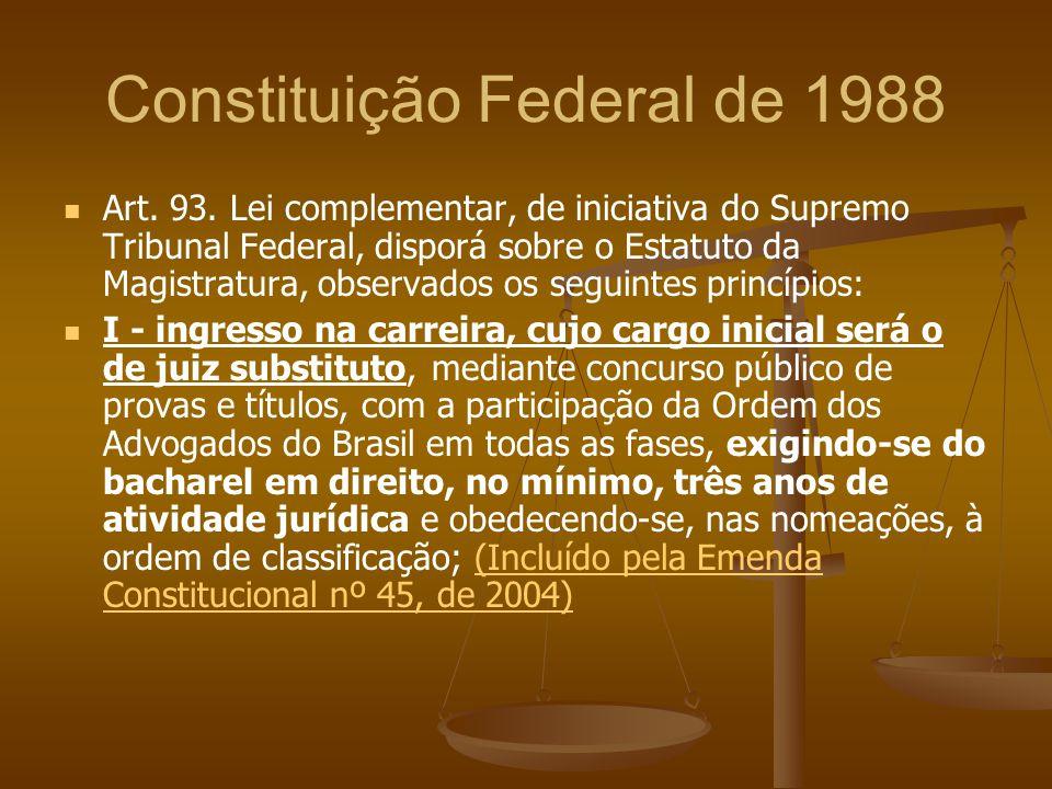 Constituição Federal de 1988 Art. 93. Lei complementar, de iniciativa do Supremo Tribunal Federal, disporá sobre o Estatuto da Magistratura, observado